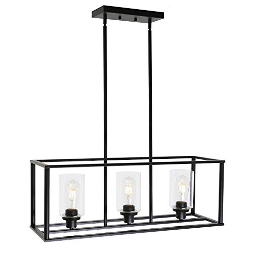 Buy Vinluz 3 Light Kitchen Island Pendant Lighting Black Contemporary Industrial Linear Chandelier With Clear Glass Shade For Dining Room Kitchen Island Living Room Online In Indonesia B07x82fvlq