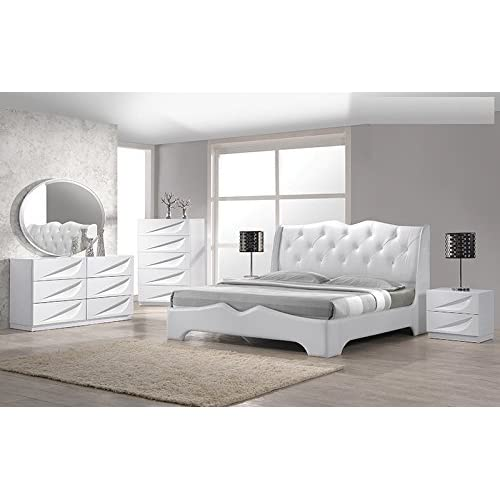 Buy California Tradeworks Modern Madrid 4 Piece Bedroom Set Queen Size Bed Leather Like Exterior Mirror Dresser Nightstand White Lacquer Headboard With Like Crystals Bedroom Furniture Online In Indonesia B00w5wsz3a
