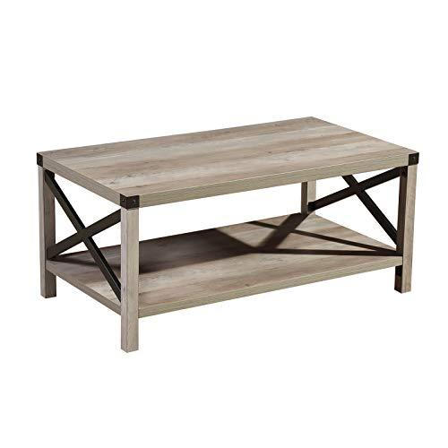 Lipo Rustic Coffee Table Modern, Metal And Wood Furniture