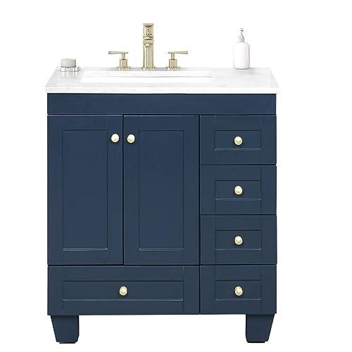 Blue Transitional Bathroom Vanity W, Transitional Bathroom Vanities