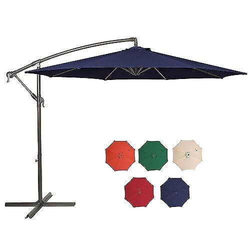 Hepoe 10ft Offset Patio Umbrella, 10 Ft Cantilever Patio Umbrella