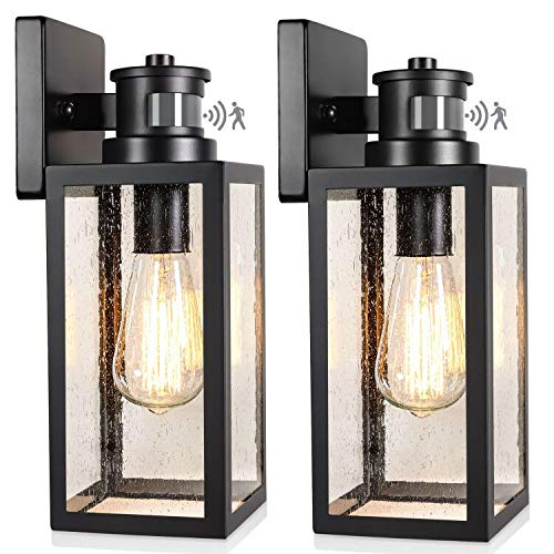 2 Pack Motion Sensor Outdoor Wall, Imre 2 Light Outdoor Sconce With Motion Sensor