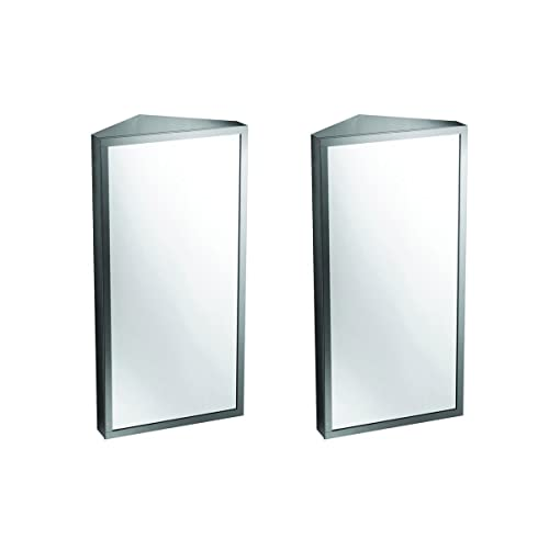 Buy Renovators Supply Infinity Corner Wall Mount Medicine Cabinet With Mirror Brushed Stainless Steel Bathroom Storage 23 6 X 11 8 Inches Hanging Triple Shelf Storage Cabinet Opens Left To Right Pack Of 2