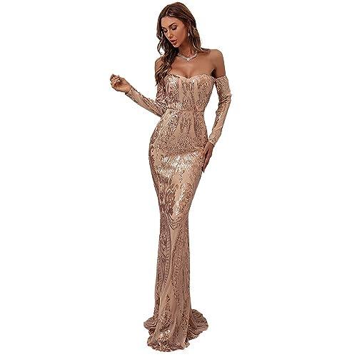 Women Elegant Long Sleeve Maxi Formal Party Dress Evening Prom Swing Dress