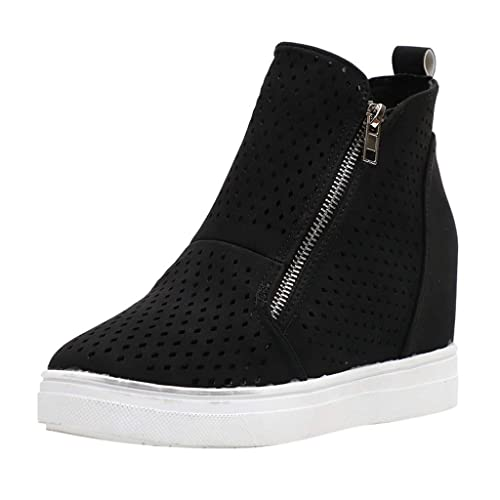 Womens Platform Wedge Sneakers Ankle Booties Breathable Hollow Out Side Zipper Casual Shoes