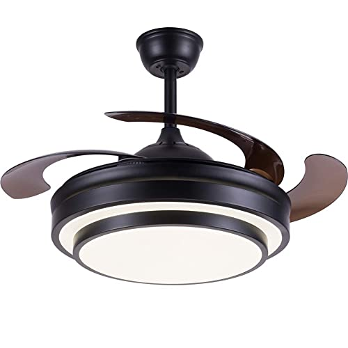Buy Modern Ceiling Fan Retractable Blades Ceiling Fan With Lights And Remote Noise Free 3 Colors Change Led Light 6 Speed Set Invisible Retractable Chandelier Fan With Silent Motor Black Online In Indonesia