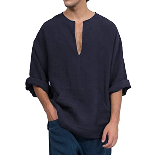 Jacansi Mens Loose Cotton Tunic Casual Beach Long Sleeve V Neck Henley Tops