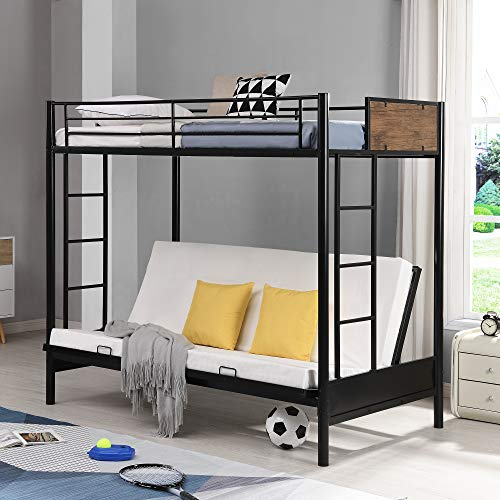 Buy Twin Over Futon Bunk Beds Twin Over Full Metal Bunk Bed Convertible Twin Over Futon Bed Metal Futon Bunk Bed With Guardrails And Ladder Rustic Black Online In Indonesia B08zj8c5jd
