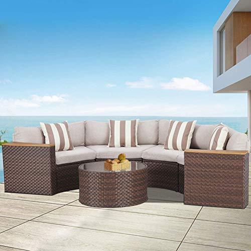 5 Piece Sectional Half Moon Sofa, Half Moon Furniture