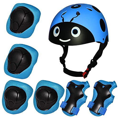 Kids Bike Helmet Toddler Helmet for Kids 3-13 Years Sport Protective Gear Set Boy Girl Adjustable Child Cycling Helmet with Knee Pads Elbow Pads Wrist Guards Youth Skateboard Helmet CPSC Certified