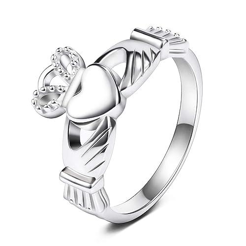 Free Engraving Tungsten Carbide Classic Irish Claddagh loyalty Wedding Band Ring