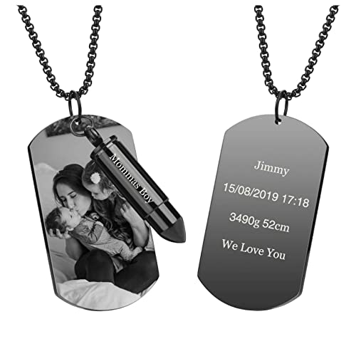 Stainless Steel Military Dog Tag Openable Bullet Memorial Pendant Necklace UK