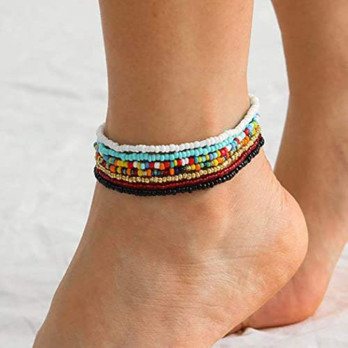 Charm Stretch Anklets Set of 6 Body Jewelry Seed Bead Anklets Anklets Stack Anklets Gift Anklets
