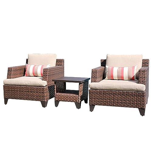Sunsitt 3 Piece Patio Conversation, 3 Piece Wicker Patio Conversation Set With Beige Cushions