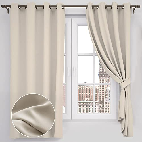 Buy Anuwaa Blackout Curtains 63 Inch Length Linen Black Out Kitchen Curtains Drape Window Curtains For Bedroom And Living Room Beige 52x63 Inch 2 Panels Set Online In Indonesia B08xk835r3