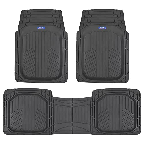 All Weather Floor Mats >> Acdelco Acof 933 Bk Black Deep Dish All Climate Rubber Floor Mats For Car Suv Van Truck Heavy Duty Liners 3 Piece Set Thick Odorless All Weather
