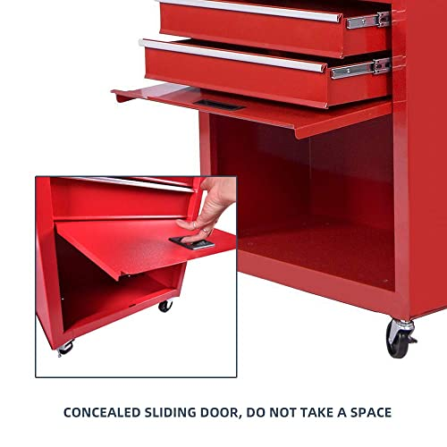 Big Tool Chest,Removable 2 in 1 Tool Box,8-Drawer Tool Storage,Detachable Tool Chest with 4 Universal Wheels ,Keyed Locking System Toolbox Organizer,Red 2 PCS Lockable