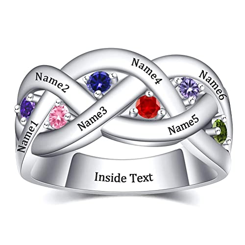 Custom Personalized 925 Sterling Silver Infinity Couples Ring Band with 2 Birthstones