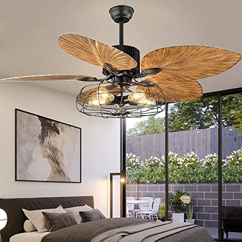 Buy Industrial Cage Ceiling Fan With Light Tropical 5 Lights Remote Control Indoor Chandelier Fan Light Palm 5 Reversible Blades Vintage Quiet Fan Light Black Finish 52 Inch Online In Indonesia B07jntx39l