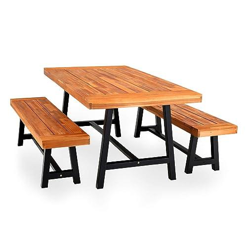 Phi Villa Outdoor Table Bench Set, Wooden Bench Outdoor Table