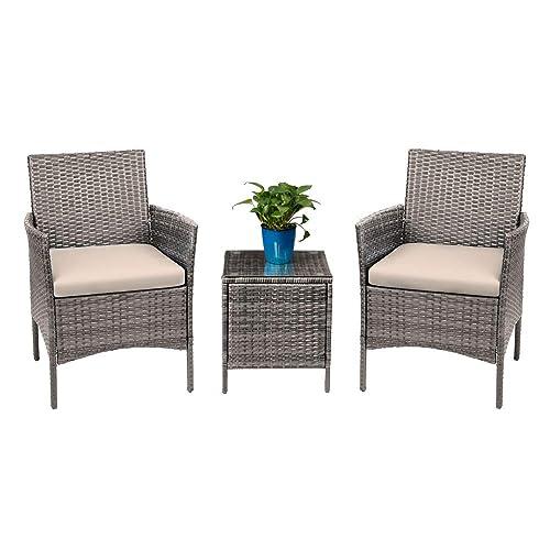 Devoko 3 Pieces Patio Furniture, Indoor Wicker Furniture Clearance