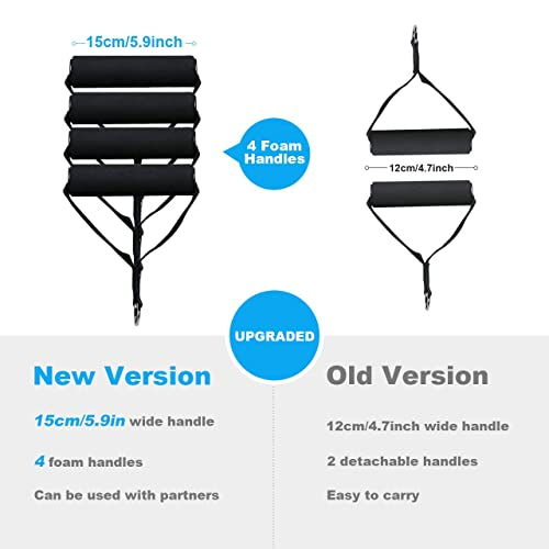 2 Legs Ankle Straps 2 Foam Handles Upgraded Resistance Tubes with Anti-Snap Heavy Duty Protective Nylon Sleeves 2 Door Anchors Polygon Resistance Bands Set Include 5 Stackable Exercise Bands
