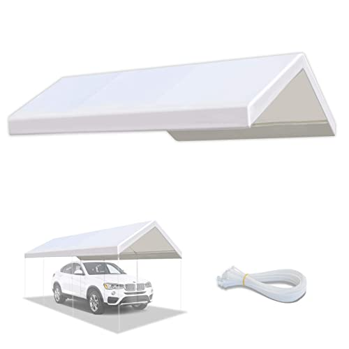 Buy Yardgrow 10 X 20 Feet Carport Replacement Top Canopy Cover For Tent Garage Shelter With Cable Ties Cords White Only Cover Frame Not Included Online In Indonesia B08rmjdz91