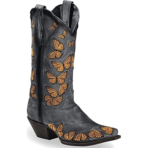 Women/'s Embroidered Mid Calf Boots Winter Warm Western Cowboy Vintage Shoes