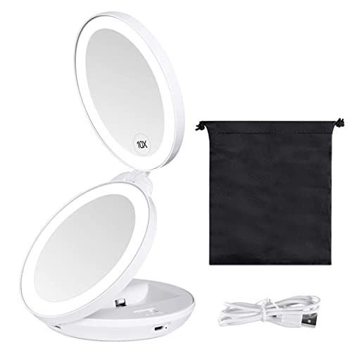 Kedsum Upgraded Rechargeable Led, Best Magnifying Travel Makeup Mirror