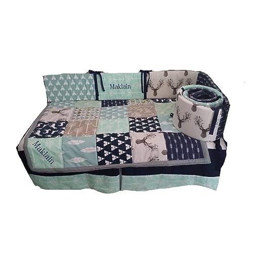 Woodland 1 To 4 Piece Baby Boy, Blue Deer Head Baby Bedding
