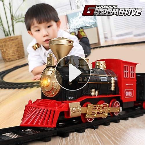Temi Elektronik Klasik Kereta Api Set W Mesin Lokomotif Uap Mobil Kargo Dan Trek Baterai Dioperasikan