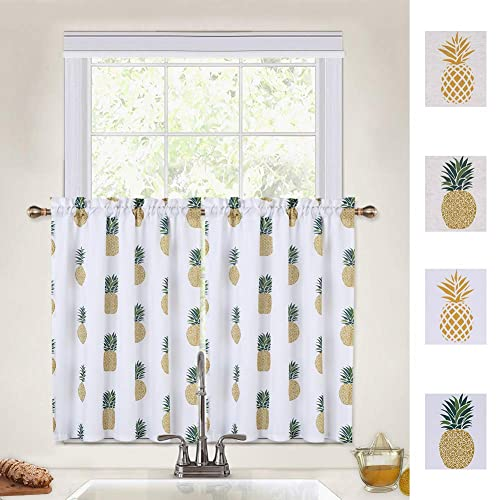 Caromio Pineapple Cafe Curtains 36, Kitchen And Bathroom Window Curtains