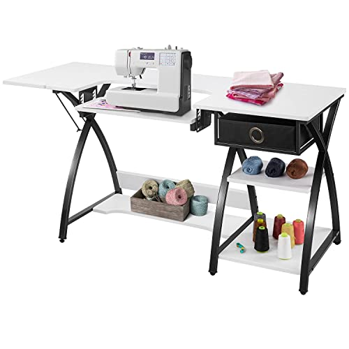 Buy Sewing Craft Table Sewing Machine Desk With Adjustable Folding Shelves And Storage Drawer X Frame Sturdy Multipurpose Sewing Desk White Mdf 57 1 23 6 29 9 Inches Online In Indonesia B07xrhzbt9