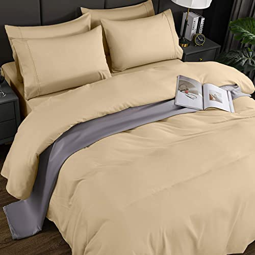 Buy Newspin Bed Sheet Sets California King Size Super Soft Bedding Sheets 1800 Brushed Microfiber Wrinkle Resistant Sheet Fit 16 Inch Deep Pocket Mattress Cal King Cream 6 Piece Online In Indonesia B08lngzn5t