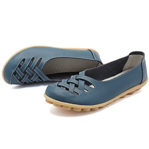 9e609bd276543 Buy KEESKY Women's Leather Casual Cut Out Loafers Flat Slip-on Shoes ...