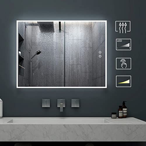 Led Lighted Bathroom Mirror With, Anti Fog Bathroom Mirror