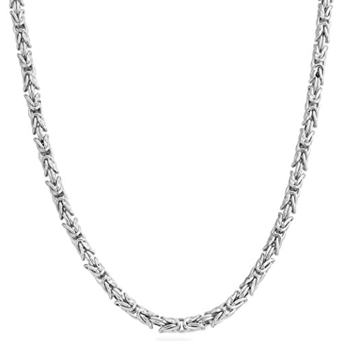 20/'/' Sterling Silver Italy Necklace 6mm Wide Links Rhodium Plated