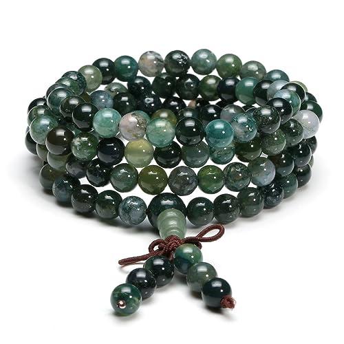 8mm Picture stone Gemstone Mala Gemston Bracelets pendant Pray Wrist Bead