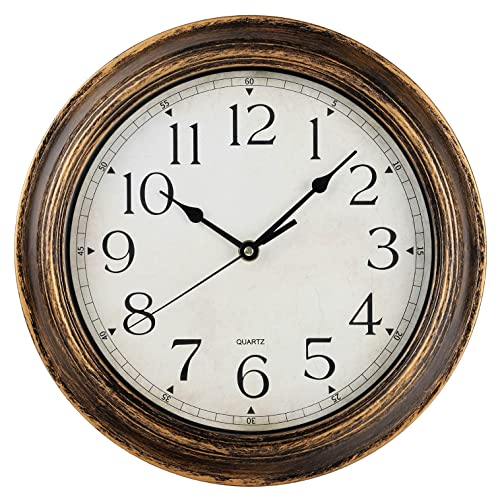 12 Inch Retro Wooden Wall Clock Silent Non Ticking Wall Clocks Antique Rustic