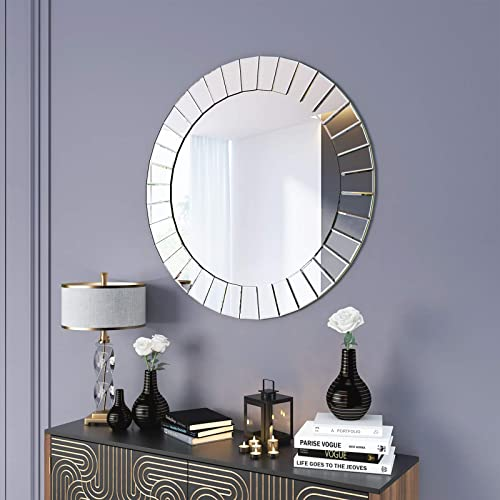 Kohros Modern Beveled Wall Mirror, Venetian Large Round Silver Wall Mirror