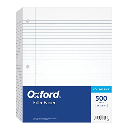 Buy Oxford Filler Paper 8 1 2 X 11 College Rule 3 Hole Punched Loose Leaf Paper For 3 Ring Binders 500 Sheets Per Pack 62349 White Online In Indonesia B000j0b3vg