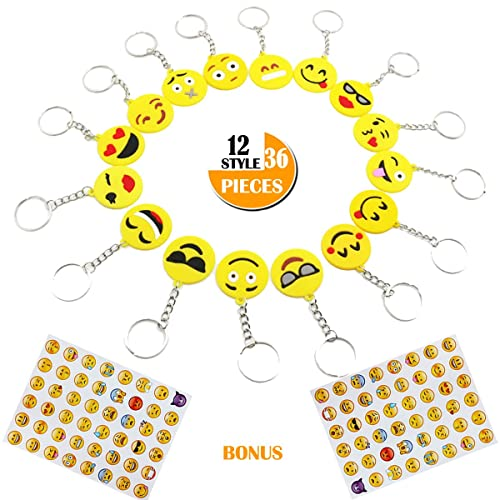 36 Pack Emoji Keychains Party Favors For Kids Birthday Party