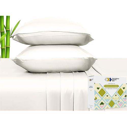Luxury Hotel Bedding King Bed Sheet Set Hypoallergenic Sheets Set KING Ivory