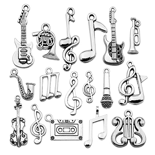 Guitar Charm Tibetan Silver Pendant Pack of 10