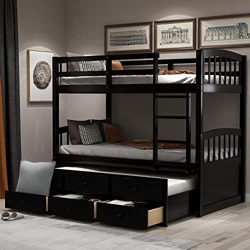 Twin Trundle Bed Wood Bunk Frame, Bunk Bed With Trundle And Storage Drawers