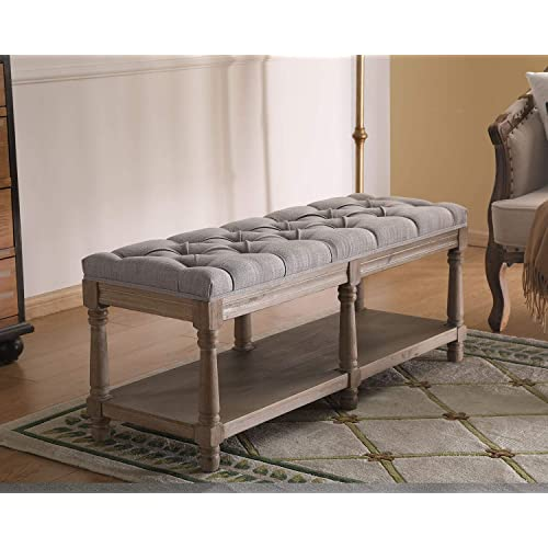 Buy Guyou Farmhouse Wood Entryway Bench Button Tufted Accent Shoe Storage Fabric Dining Bench With Shelf Kitchen Living Room Ottoman End Table Gray Online In Indonesia B08hlxmb41