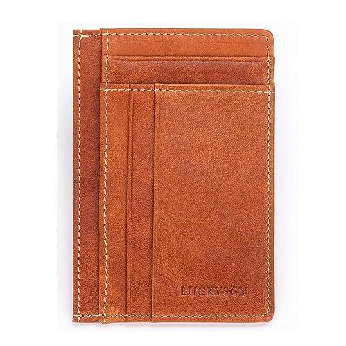 Mini Real Leather Credit ID Business Travel Card Holder Pocket Wallet Slim UK