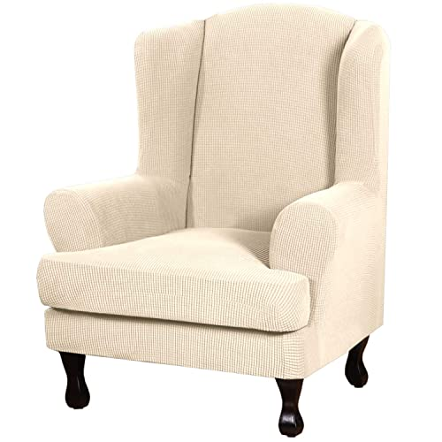 2 Piece Stretch Jacquard Wingback, Grey Wingback Chair Slipcover