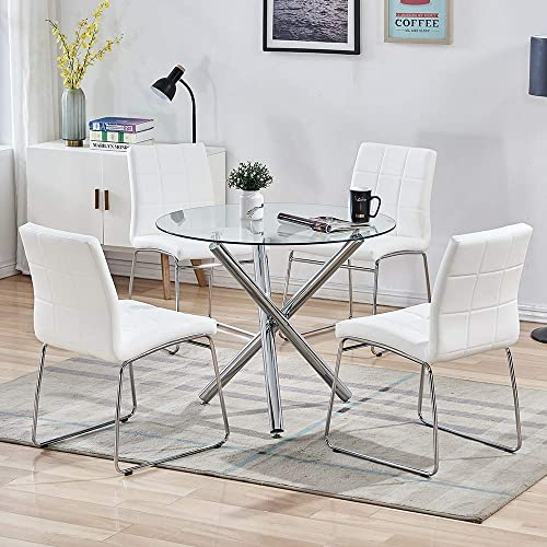 Buy Sicotas Round Dining Table Set Modern Kitchen Table And White Chairs Dining Room Table Set With Clear Tempered Glass Top Dining Set For Dining Room Kitchen Furniture Table 4 White Chairs Online