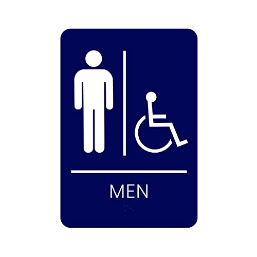 Buy Corko Signs Men S Braille Handicapped Restroom Sign Blue Bathroom Sign With Double Sided 3m Tape On Back Online In Indonesia B07kjsdgmg